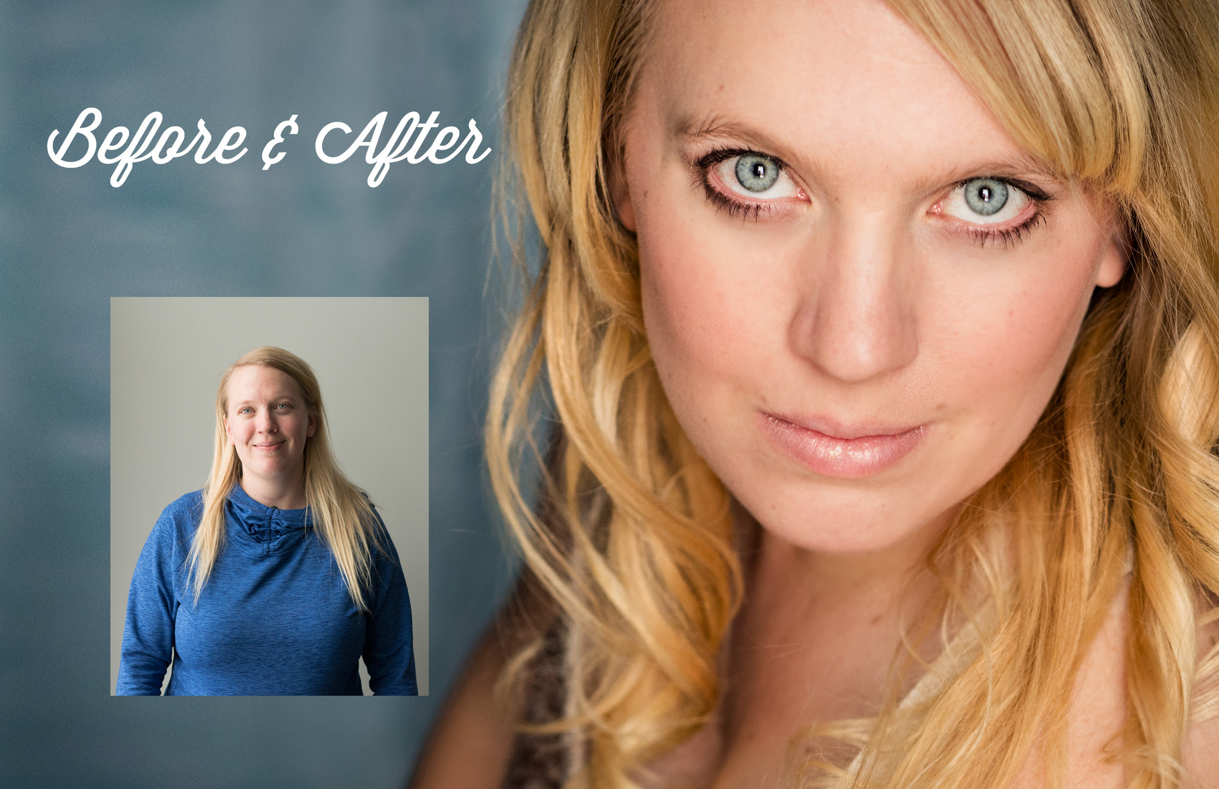 She'll be pampered with professional hair and makeup, and even a massage! (Above: before, and after hair, makeup, and professional photos.)